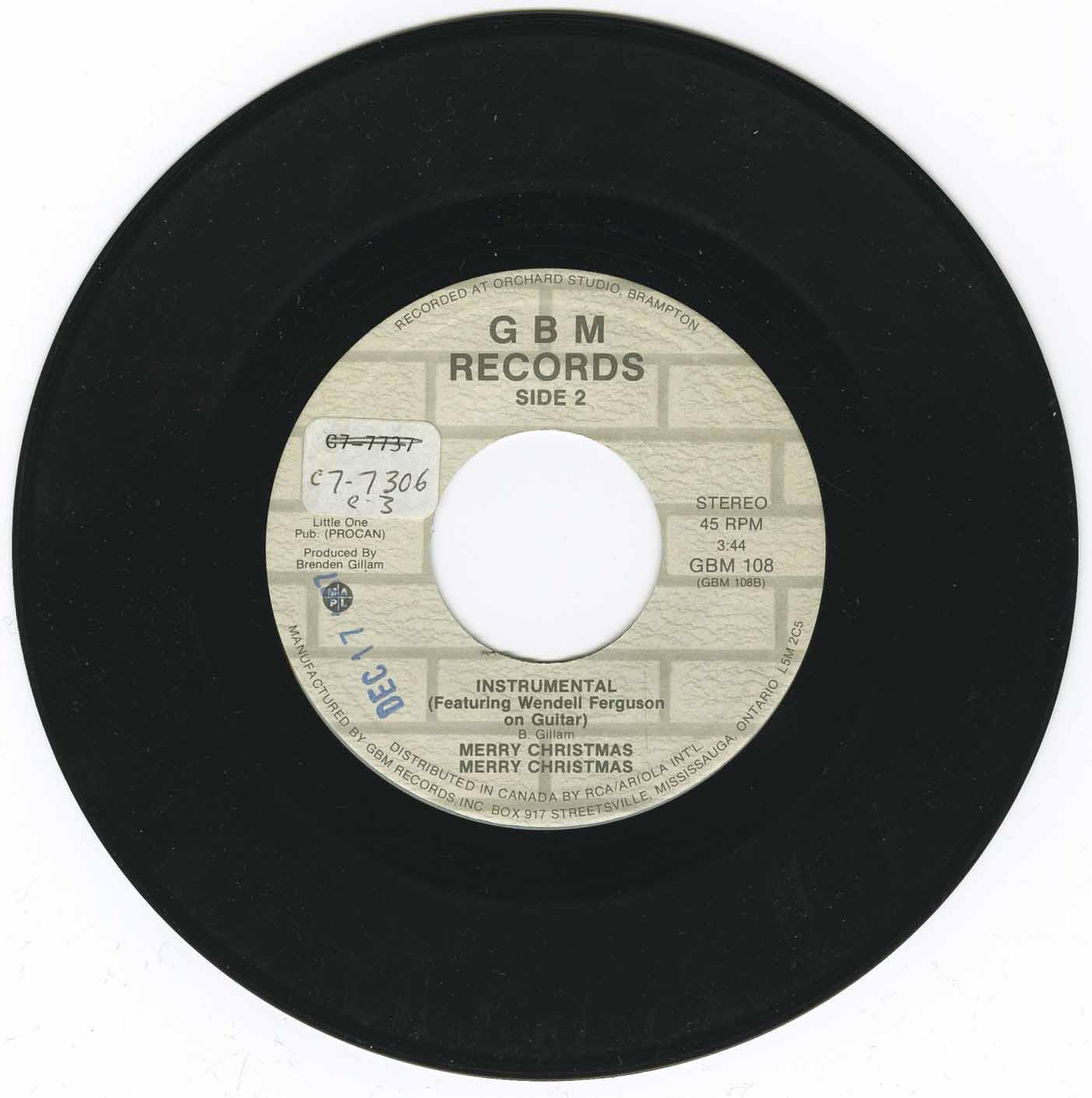 Gillam, Brenden - Merry Christmas b/w Merry Christmas (Instrumental)