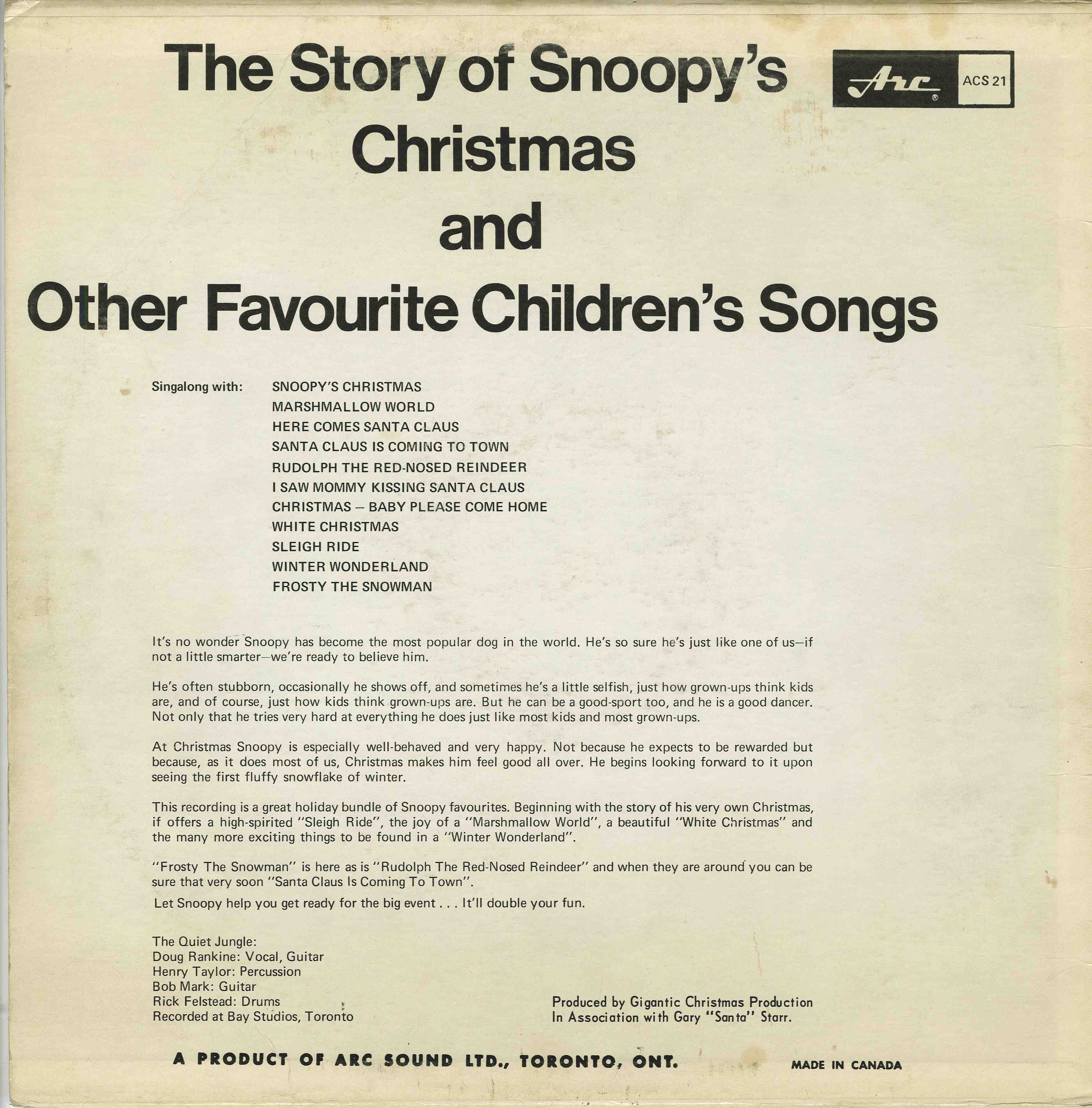 quiet jungle the story of snoopys christmas and other favourite childrens songs - Snoopys Christmas Album