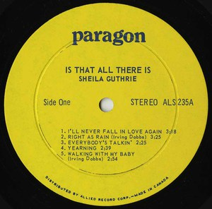 Sheila guthrie is that all there is vinyl 01