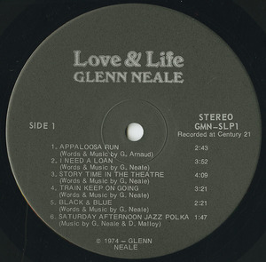 Glenn neale   love   life label 01