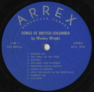 Wesley wright songs of british columbia label 01