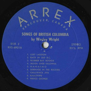 Wesley wright songs of british columbia label 02