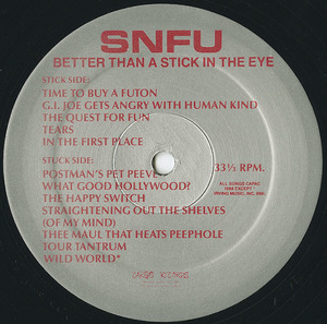 Snfu better than a stick in the eye vinyl label 01