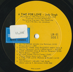 Judy singh a time for love label 01