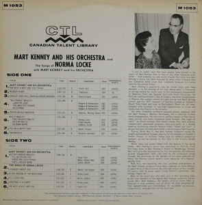 Mart kenney and his orchestra the songs of noirma locke back