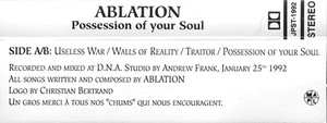 Ablation   possession of your soul cassette side