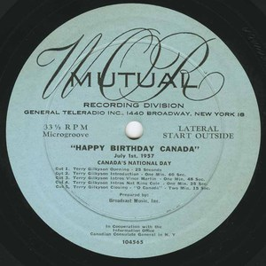 78 happy birthday canada on mutual 1957 label