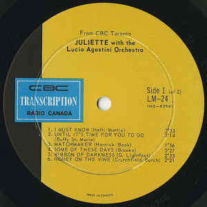 Juliette with the lucio agostini orchestra cbc lm 24 1968 label 01