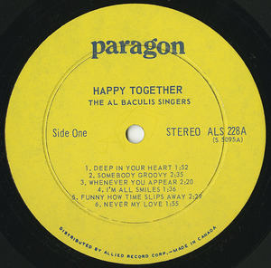 Al baculis singers happy together %28ctl paragon%29 label 01