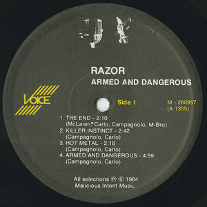 Razor   armed and dangerous label 01
