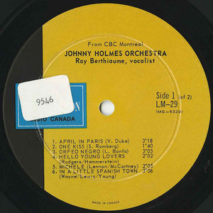 Johnny holmes orchestra ray berthiaume vocals cbc lm 29 label 01
